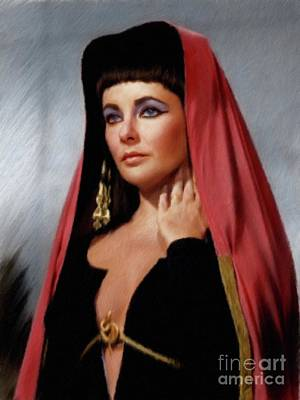 Actors Paintings - Elizabeth Taylor, Vintage Actress by Mary Bassett
