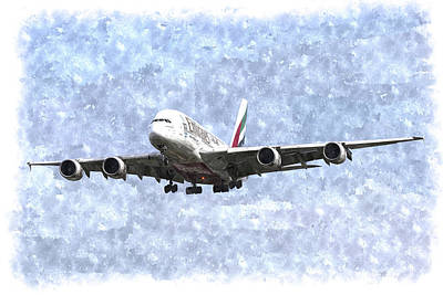 Photograph - Emirates A380 Airbus Watercolour by David Pyatt