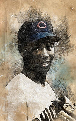 Chicago Cubs Drawing - Ernie Banks by Anna J Davis
