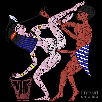 Digital Art - Erotic Art Of Ancient Egypt Looks Like Mosaic by Michal Boubin