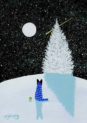 Blue Heeler Painting - Falling Snow by Todd Young