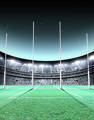 Footie Digital Art - Floodlit Stadium Night by Allan Swart