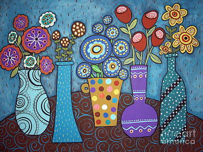 Of Flowers Painting - 5 Flower Pots by Karla Gerard