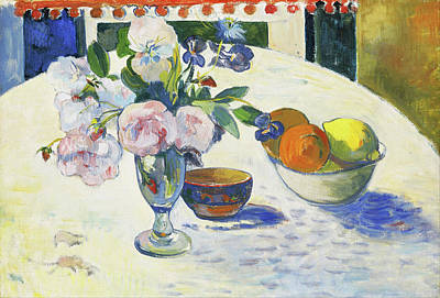 Painting - Flowers And A Bowl Of Fruit On A Table by Paul Gauguin