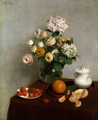 Painting - Flowers And Fruit by Henri Fantin-Latou