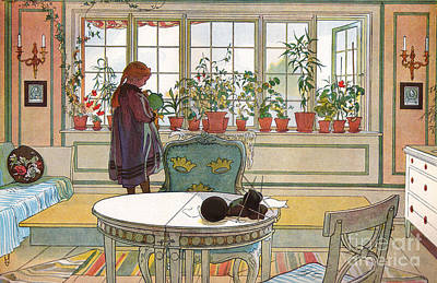 Furniture Painting - Flowers On The Windowsill by Carl Larsson