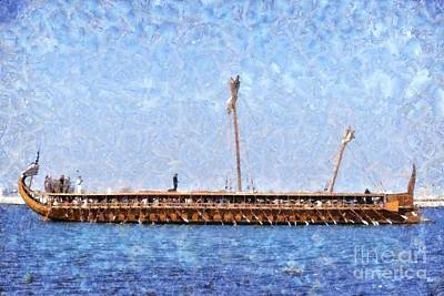 Ships Painting - Painting Of An Ancient Trireme by George Atsametakis