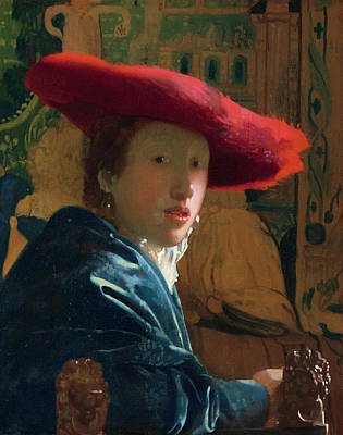 Johannes Vermeer Wall Art - Painting - Girl With The Red Hat by Johannes Vermeer