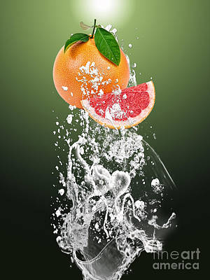 Grapefruit Splash Art Print by Marvin Blaine