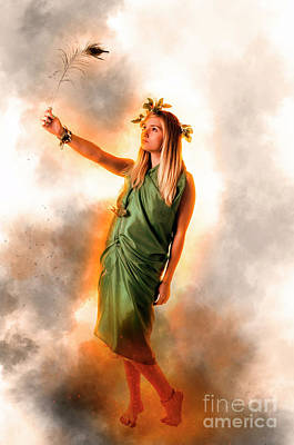 Greek Goddess In Green Art Print by Humorous Quotes