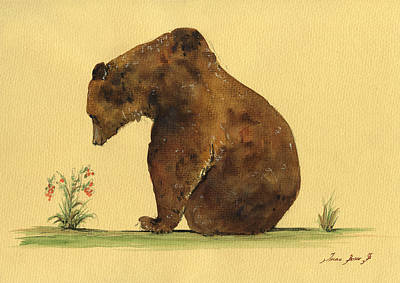Animal Art Painting - Grizzly Bear Watercolor Painting by Juan  Bosco