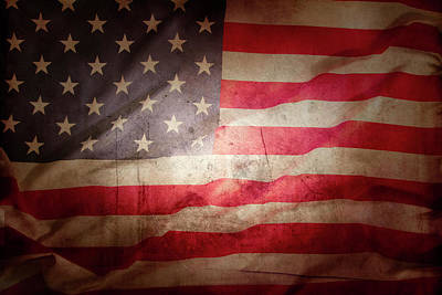 Photograph - Grunge American Flag 4 by Les Cunliffe