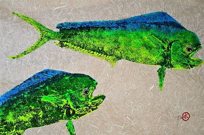 Blue Marlin Mixed Media - Gyotaku - Mahi Mahi - Dorado - Dolphinfish by Jeffrey Canha