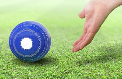 Turf Digital Art - Hand And Lawn Bowl by Allan Swart