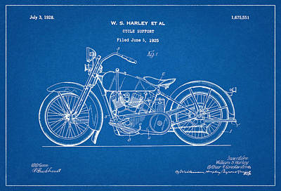 Harley Davidson Digital Art - Harley Davidson Patent - Patent Drawing For The 1925 Harley Davidson Cycle Support by Jose Elias - Sofia Pereira