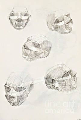 Drawing - 5 Heads by Suzn Art Memorial