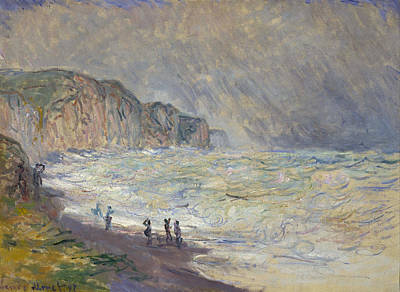 Beach Painting - Heavy Sea At Pourville by Claude Monet