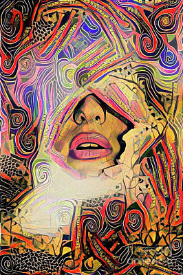 Digital Art - Hidden Face With Lipstick by Amy Cicconi