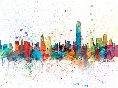 Hong Kong Digital Art - Hong Kong Skyline by Michael Tompsett