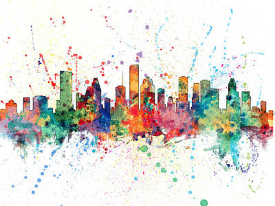 Texas A And M Digital Art - Houston Texas Skyline by Michael Tompsett