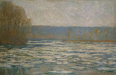 Painting - Ice Breaking Up On The Seine Near Bennecourt  by Claude Monet