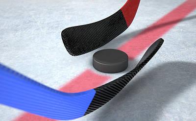 Stadium Digital Art - Ice Hockey Sticks And Puck by Allan Swart