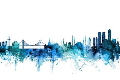 Digital Art - Istanbul Turkey Skyline by Michael Tompsett