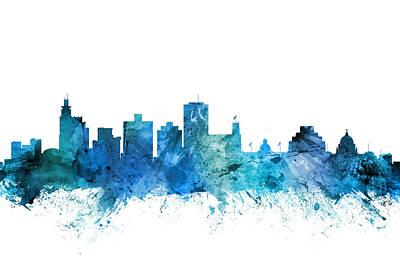 Digital Art - Jackson Mississippi Skyline by Michael Tompsett