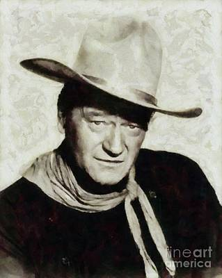 Musicians Royalty Free Images - John Wayne Hollywood Actor Royalty-Free Image by Mary Bassett