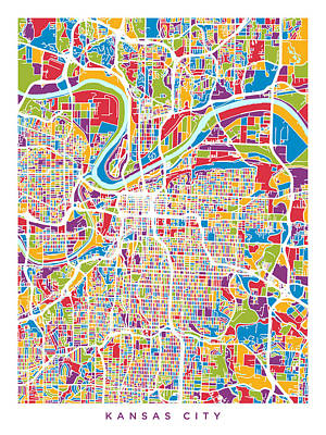 Kansas City Wall Art - Digital Art - Kansas City Missouri City Map by Michael Tompsett