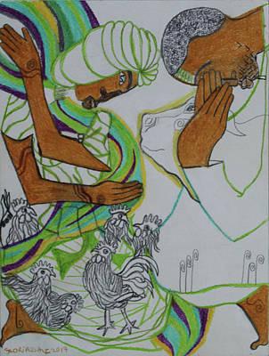 Painting - Kintu And Nambi - Folktale by Gloria Ssali