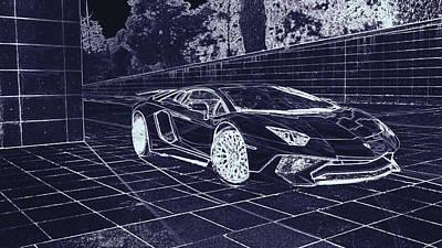 Digital Art - Lamborghini Aventador Lp 750  by PixBreak Art