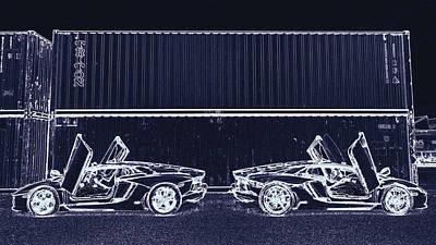Digital Art - Lamborghini Aventador Supercars by PixBreak Art