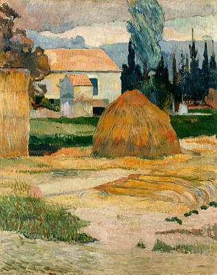 Farmland Painting - Landscape Near Arles by Paul Gauguin