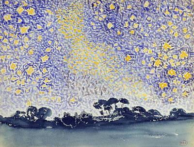 Pointillism Drawing - Landscape With Stars by Henri-Edmond Cross
