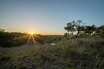Photograph - Landscapes Around Willow City Loop Texas At Sunset by Alex Grichenko