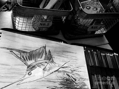Swordfish Drawing - Leaping Sailfish by Scott D Van Osdol