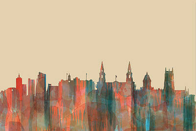 Digital Art - Leeds England Skyline by Marlene Watson