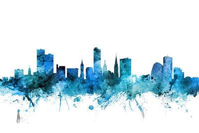 Digital Art - Leicester England Skyline by Michael Tompsett