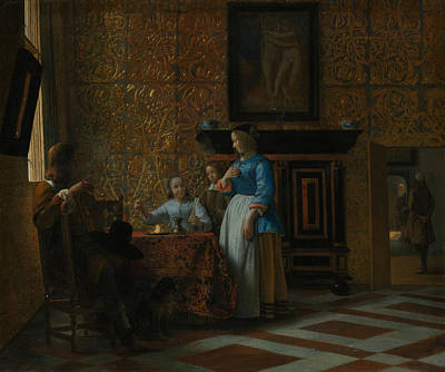 Painting - Leisure Time In An Elegant Setting by Pieter de Hooch