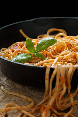 Madonna - Linguine with Basil and Red Sauce in Cast Iron Pan by Erin Cadigan