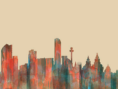 Digital Art - Liverpool England Skyline by Marlene Watson