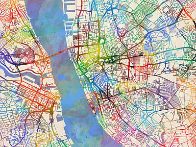 Abstract Map Digital Art - Liverpool England Street Map by Michael Tompsett