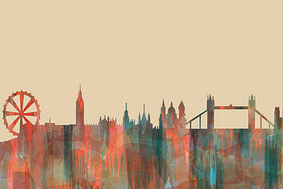 Digital Art - London England Skyline by Marlene Watson
