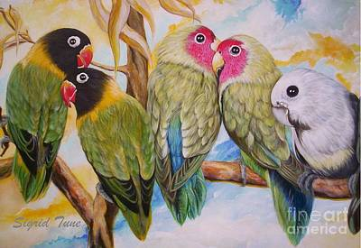 Painting - Flygende Lammet     Productions          5 Lovebirds Sitting On A Twig by Sigrid Tune