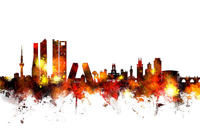 Madrid Wall Art - Digital Art - Madrid Spain Skyline by Michael Tompsett