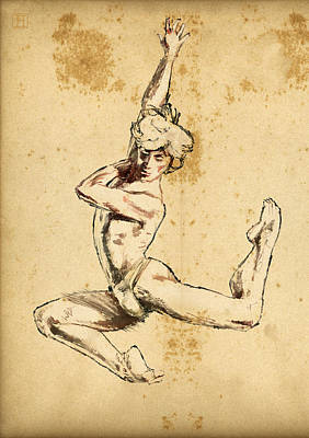Male Dancer Art Print by H James Hoff