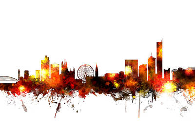 England Digital Art - Manchester England Skyline by Michael Tompsett