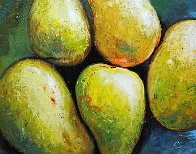 Painting - 5 Mangos by Chris Steinken