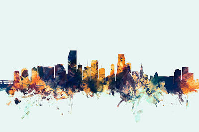 Miami Beach Digital Art - Miami Florida Skyline by Michael Tompsett